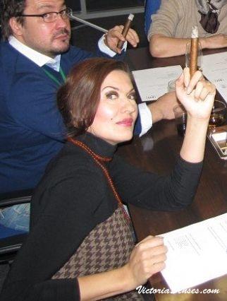 Victoria Radugina smoking cigar